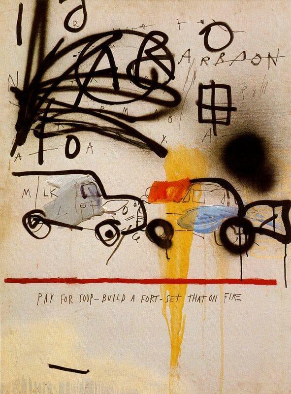 (Artysta: Jean-Michel Basquiat, Bez tytułu (Car Crash) 1980.)